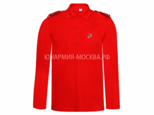 Рубашка-поло с длинным рукавом красный
